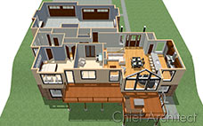 A render of a house without the roof, showing the kitchen, office, living room, bedroom, garage, and a large deck.