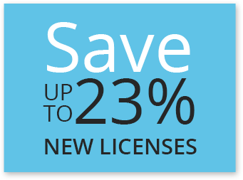 Save up to 23% on new licenses
