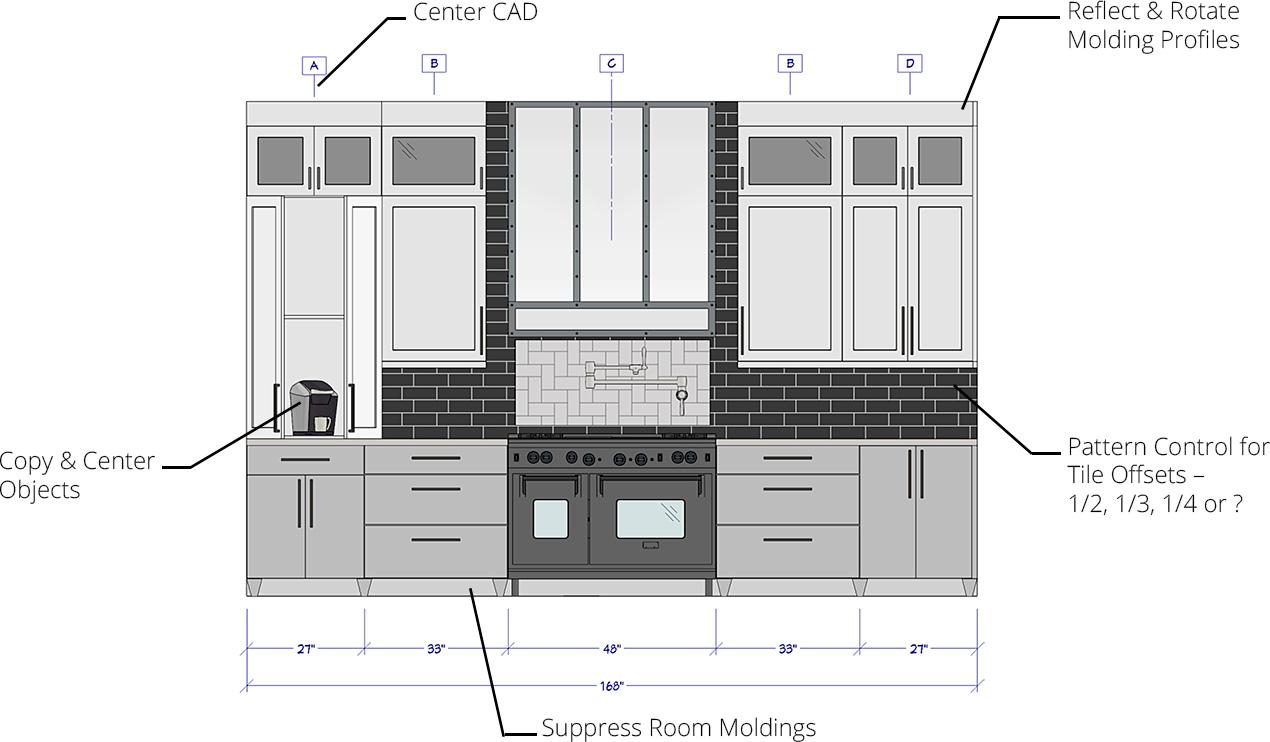 家居设计师厨房墙壁海拔,带瓷砖控制偏移