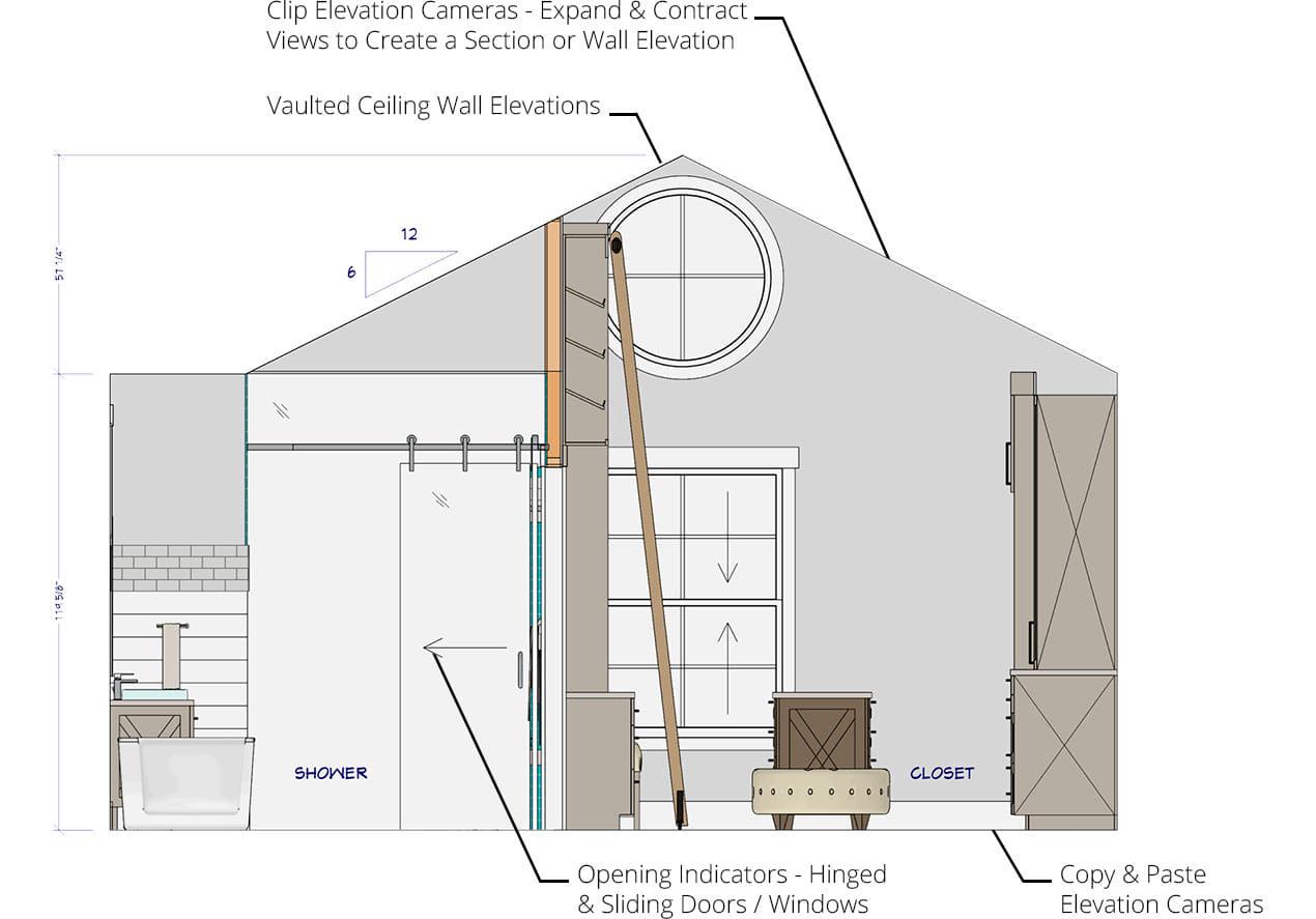 浴室,壁橱拱形壁仰卧和横截面