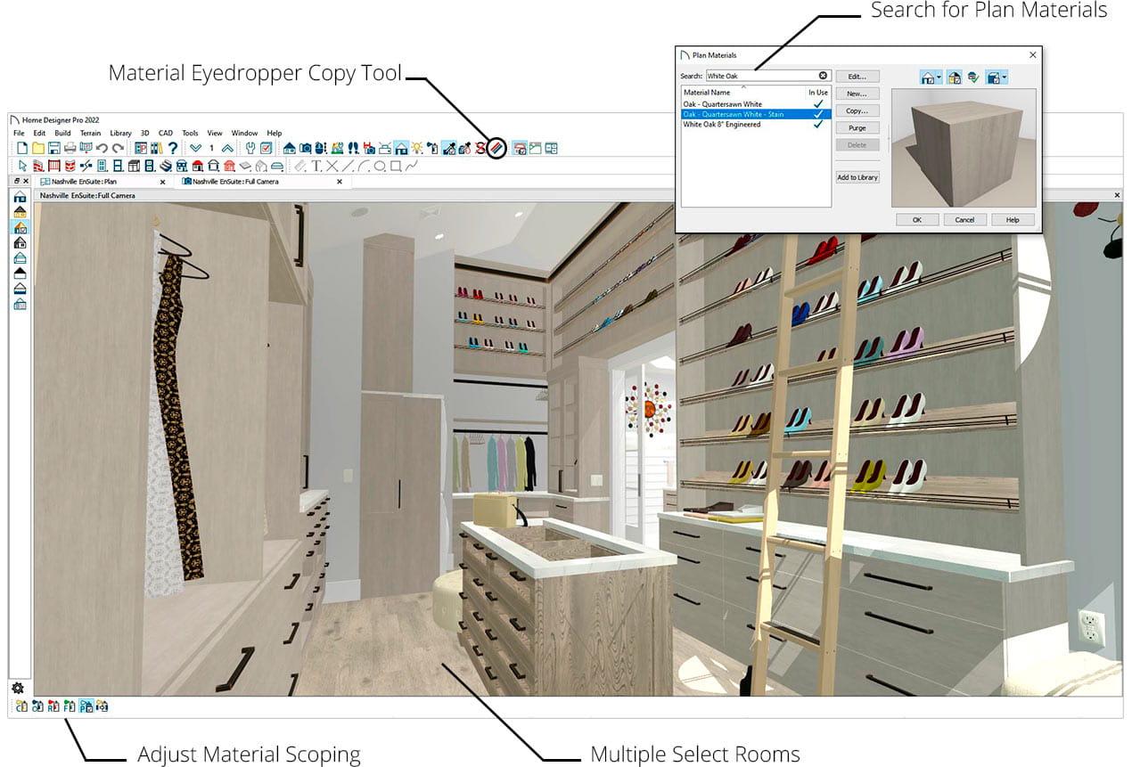 衣柜套件渲染与鞋子搁架和滚动梯子显示,使用计划材料对话框用于定位材料