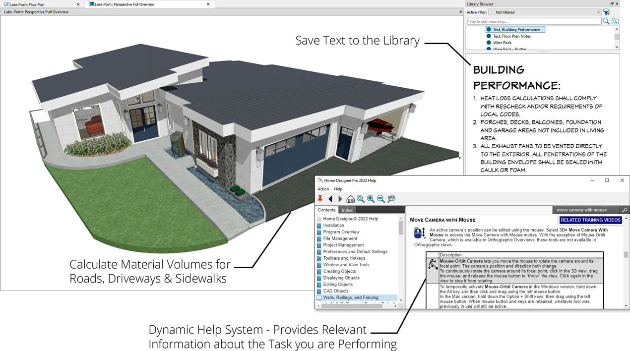 3d房子概述与棚屋屋顶,在图书馆和材料列表计算中添加文本