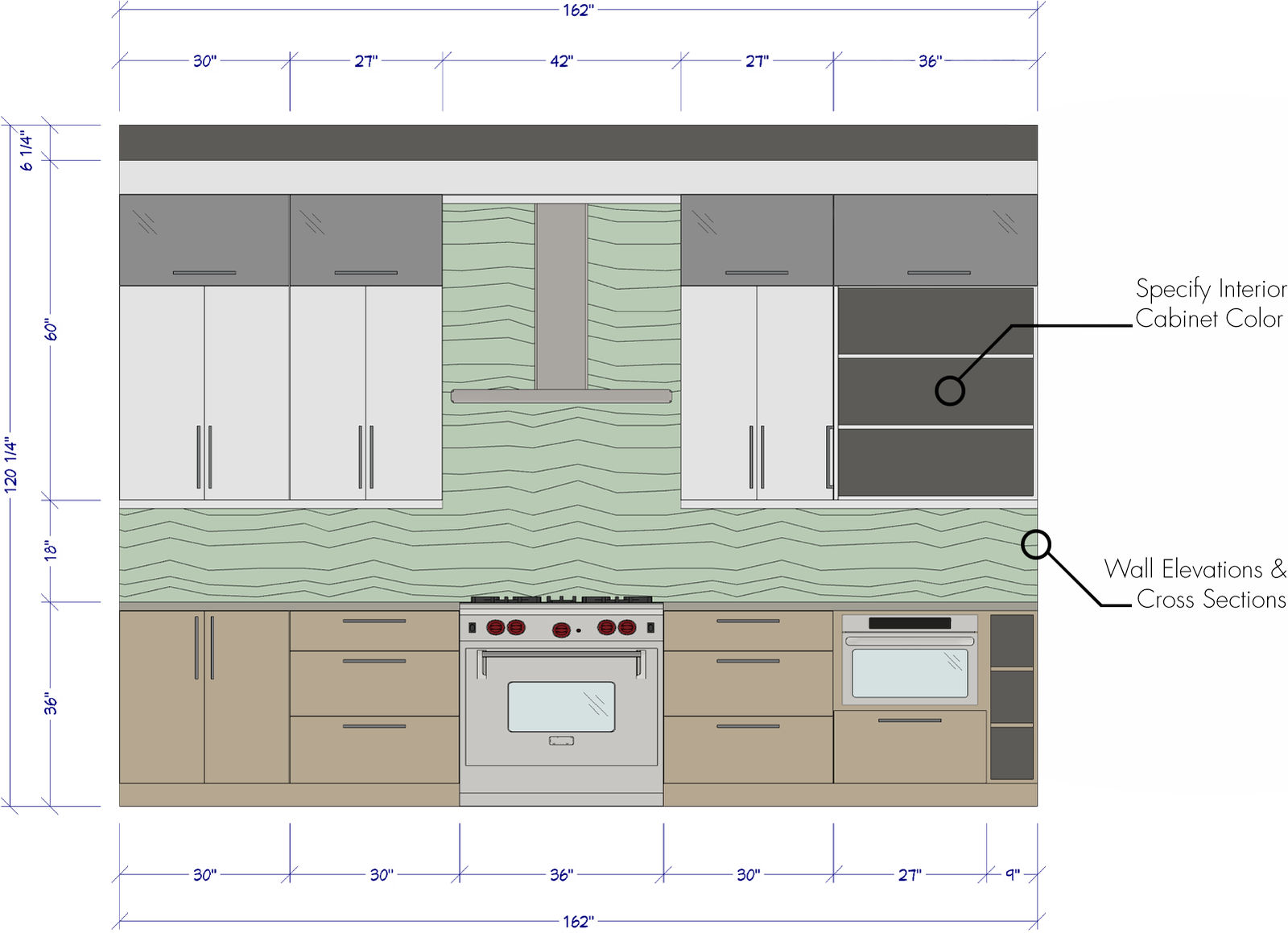 Kitchen wall elevation with dimensions.