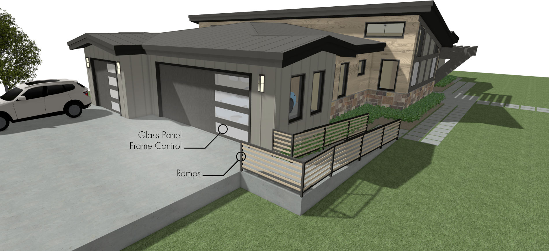 House rendering with asymmetric garage doors and ramp access.