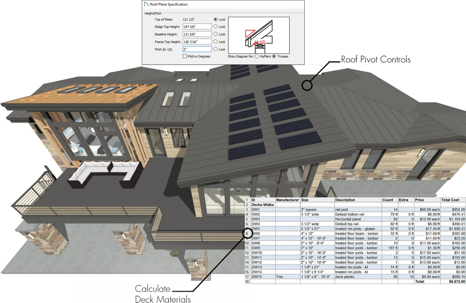 Exterior birds-eye house rendering with exposed framing and solar panels.