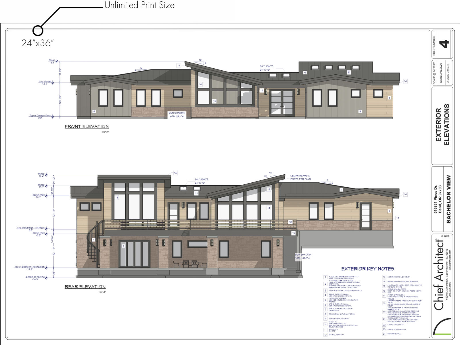 Construction drawings with exterior elevations and key notes printed 24″ x 36″.