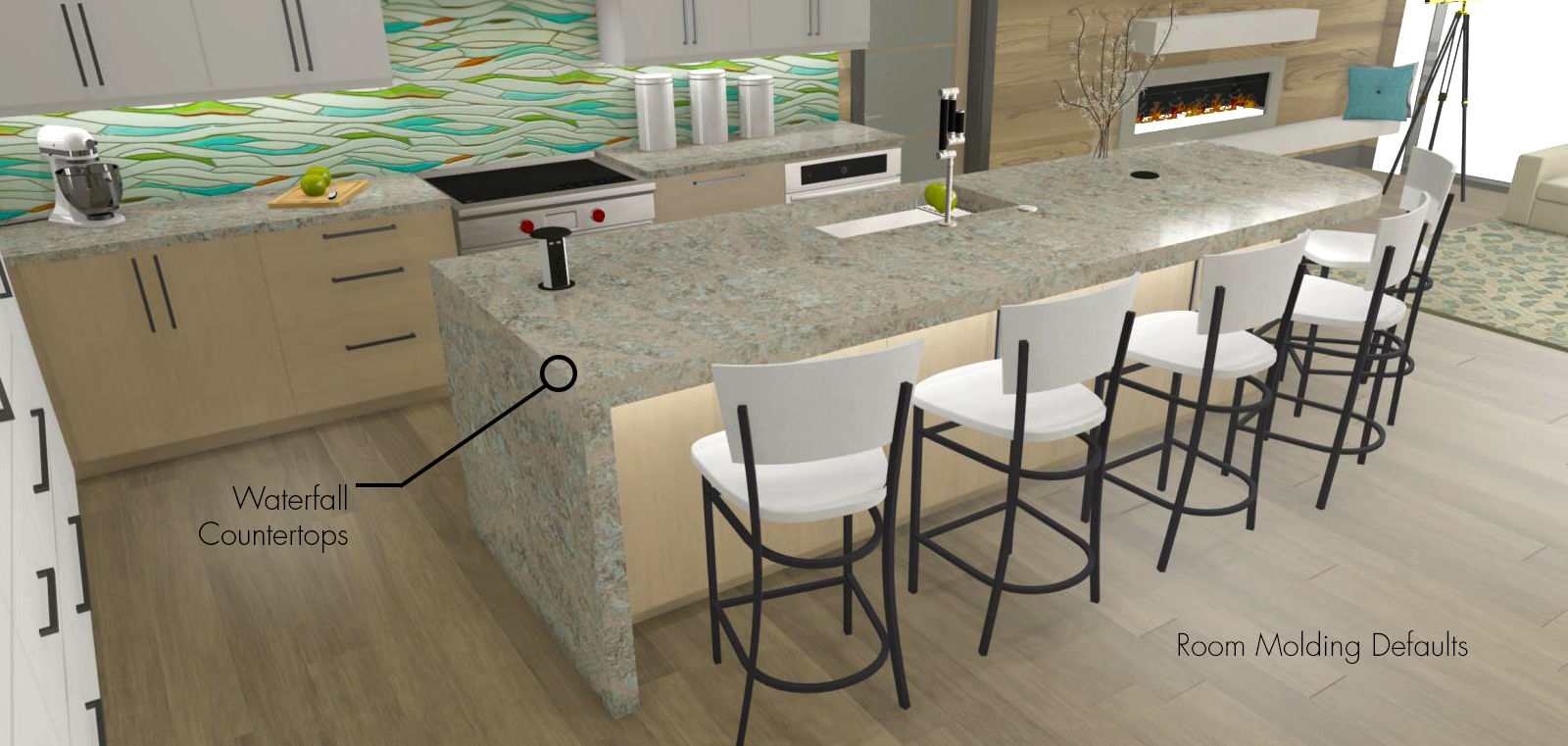 Transitional kitchen and kitchen island with a waterfall countertop.